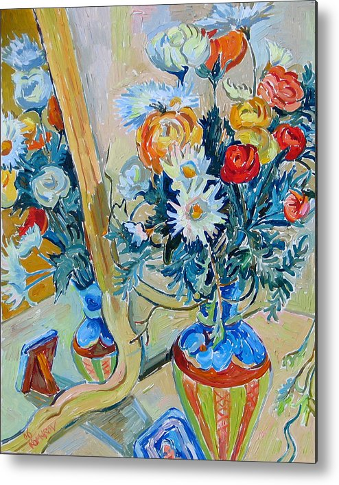 Flowers Metal Print featuring the painting Flowers And Memories by Vitali Komarov
