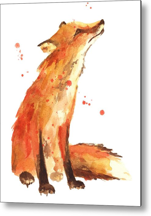 Red Fox Metal Print featuring the painting Fox Painting - Print From Original by Alison Fennell