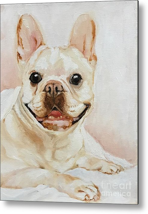 Pet Metal Print featuring the painting French Bulldog by Boni Arendt