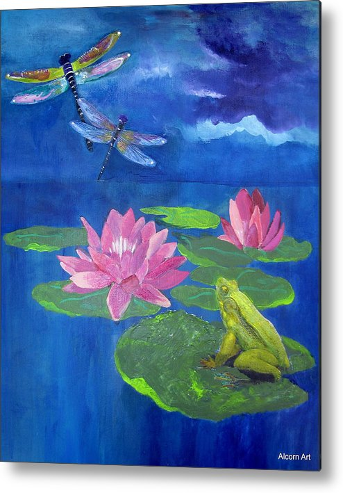 Frog Metal Print featuring the painting Frog Dreams by Brenda Alcorn