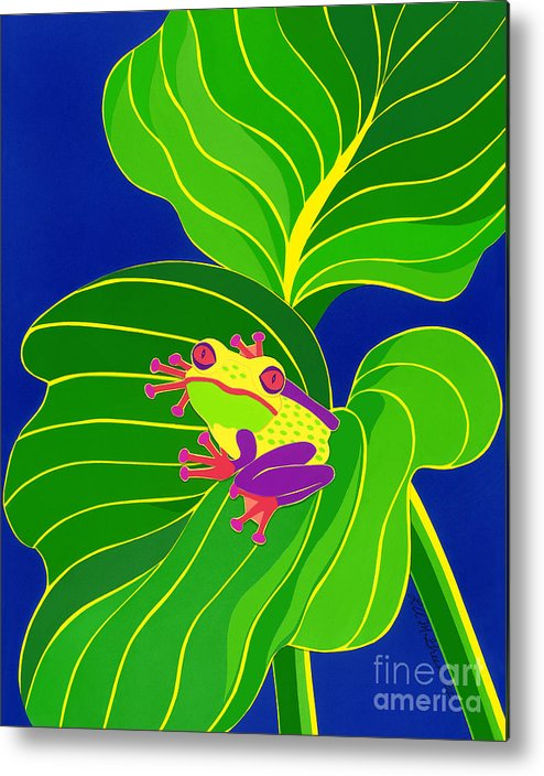 Nature Metal Print featuring the drawing Frog On Leaf by Lucyna A M Green