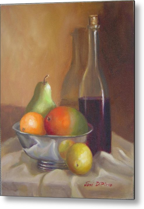 Still Life Metal Print featuring the painting Fruit With Bottle Of Wine by Joni Dipirro