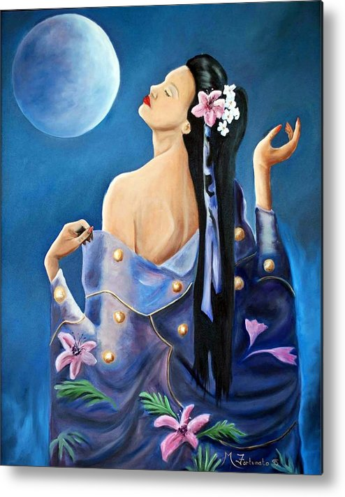 Beauty Metal Print featuring the painting Full Moon by Margaret Fortunato