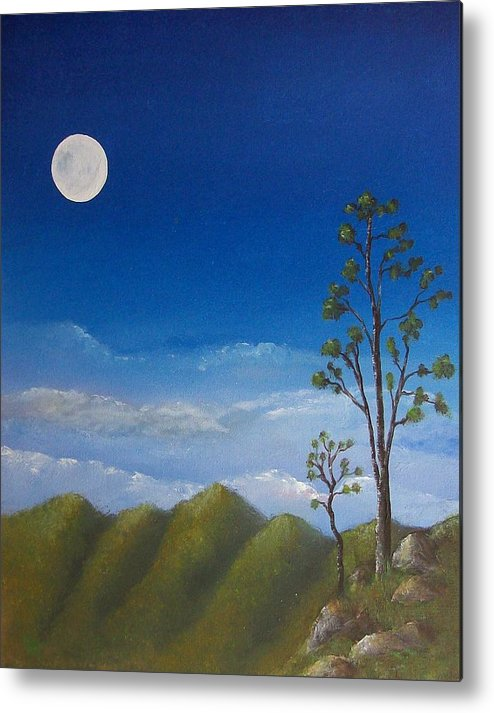 Landscape Metal Print featuring the painting Full Moon by Tony Rodriguez