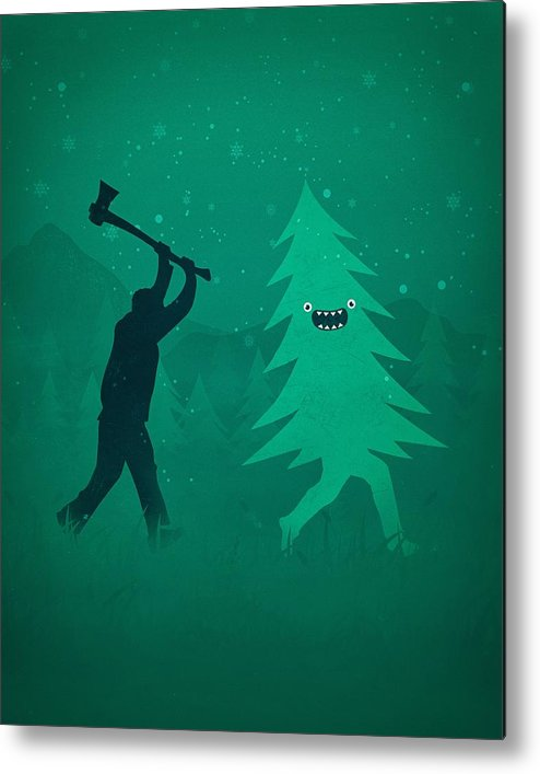 Cute Metal Print featuring the digital art Funny Cartoon Christmas Tree Is Chased By Lumberjack Run Forrest Run by Philipp Rietz
