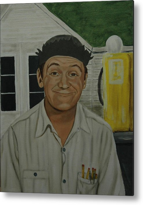 Goober Metal Print featuring the painting George Lindsey As Goober by Tresa Crain