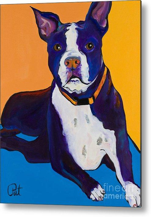 Boston Terrier Metal Print featuring the painting Georgie by Pat Saunders-White
