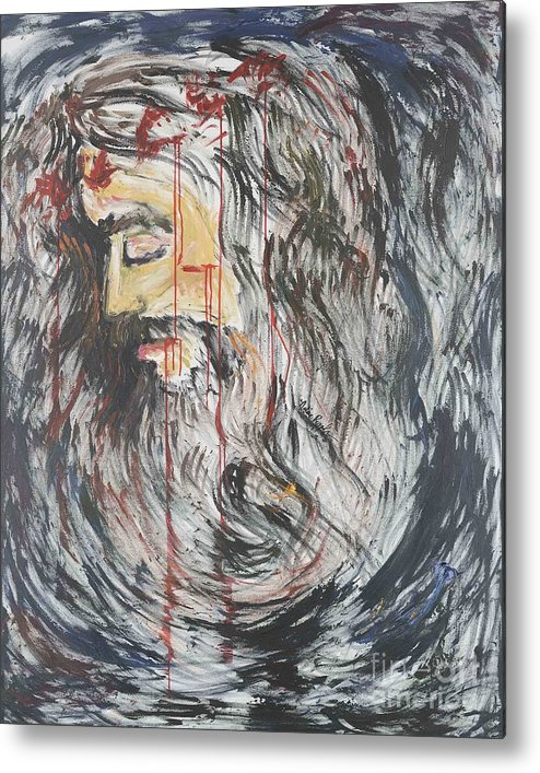 Jesus Metal Print featuring the painting Gethsemane To Golgotha IIi by Nadine Rippelmeyer