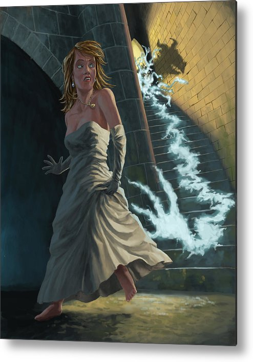 Princess Metal Print featuring the painting Ghost Chasing Princess In Dark Dungeon by Martin Davey
