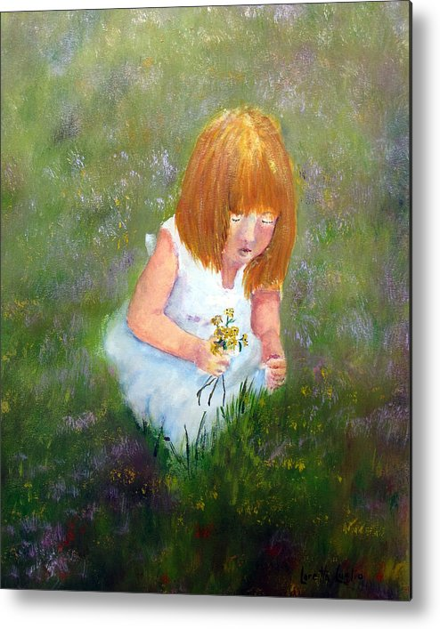Child Metal Print featuring the painting Girl In The Meadow by Loretta Luglio