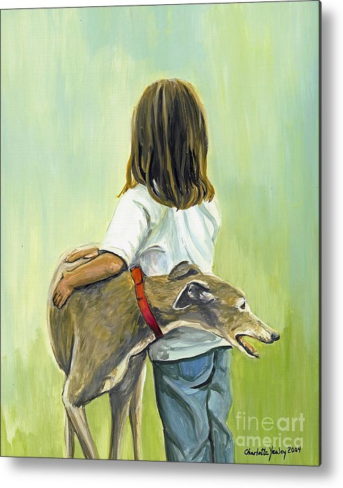 Greyhound Metal Print featuring the painting Girl With Greyhound by Charlotte Yealey