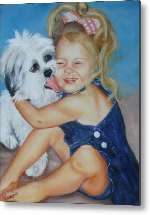 Child Metal Print featuring the painting Girl With Puppy by Joni McPherson