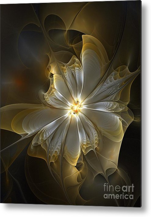 Digital Art Metal Print featuring the digital art Glowing In Silver And Gold by Amanda Moore