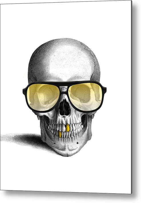 Gold Teeth Metal Print featuring the digital art Skull With Gold Teeth And Sunglasses by Madame Memento
