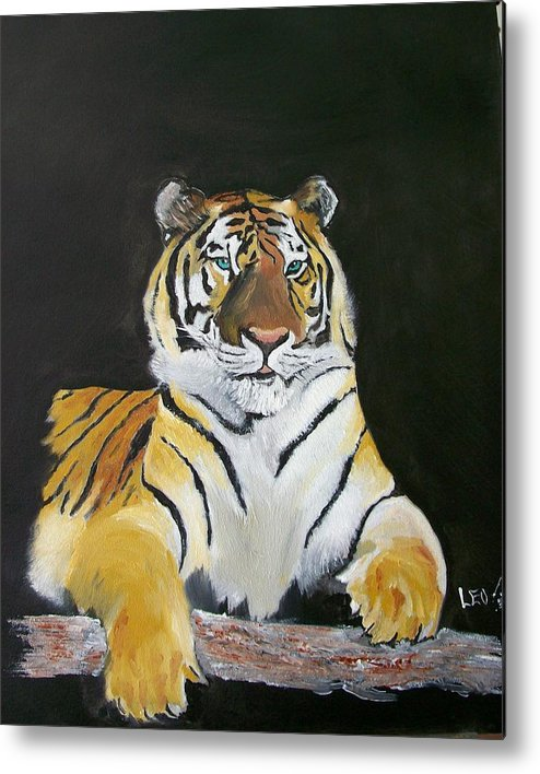 Tiger Metal Print featuring the painting Golden Beauty by Leo Gordon
