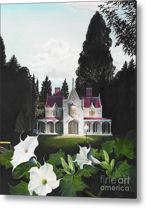 Fantasy Metal Print featuring the painting Gothic Country House Detail From Night Bridge by Melissa A Benson
