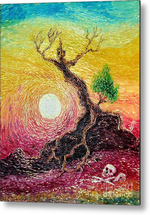 Impressionism Metal Print featuring the painting Greed- Homage To Van Gogh by Santiago Chavez