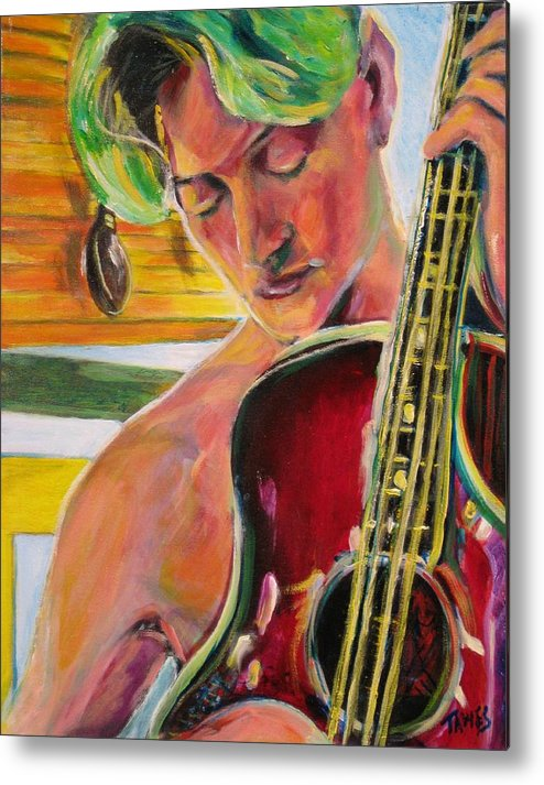 Boy Metal Print featuring the painting Green Hair Red Bass by Dennis Tawes