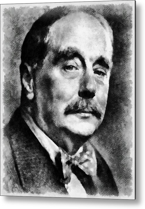 H.g. Wells Metal Print featuring the painting H. G. Wells Author by Mary Bassett