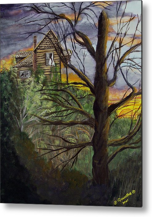 House Metal Print featuring the painting Haunted House by Quwatha Valentine