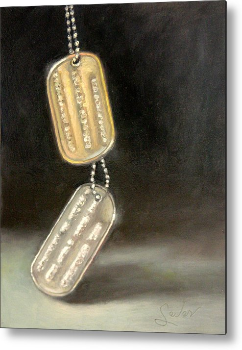 Still Life Metal Print featuring the painting Heavy Metal...the Weight Of Serving by Larry Seiler