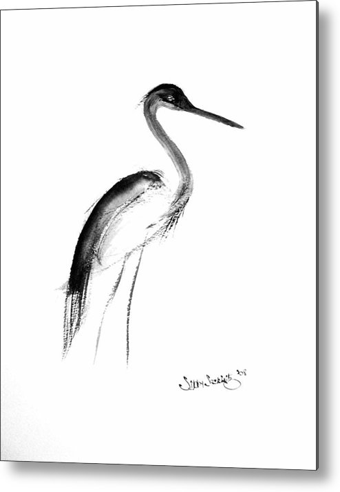 Sumi-e Metal Print featuring the painting Heron by Sibby S