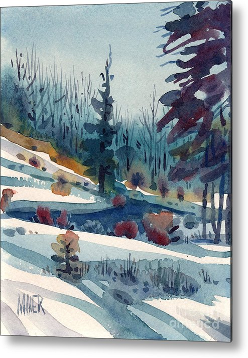 Snow Metal Print featuring the painting Hillside In Winter by Donald Maier