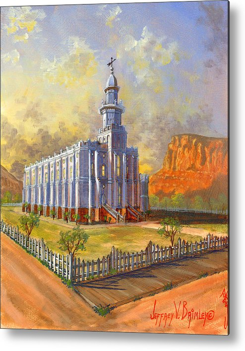 St. George Temple Metal Print featuring the painting Historic St. George Temple by Jeff Brimley