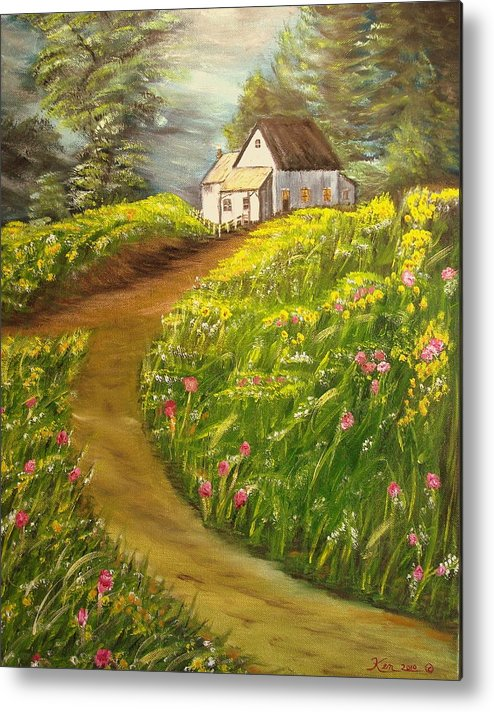 Landscape Metal Print featuring the painting Home In Springtime by Kenneth LePoidevin