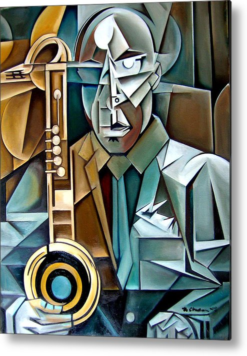 Jazz Saxophone Tim Warfield Metal Print featuring the painting Horn And Man by Martel Chapman