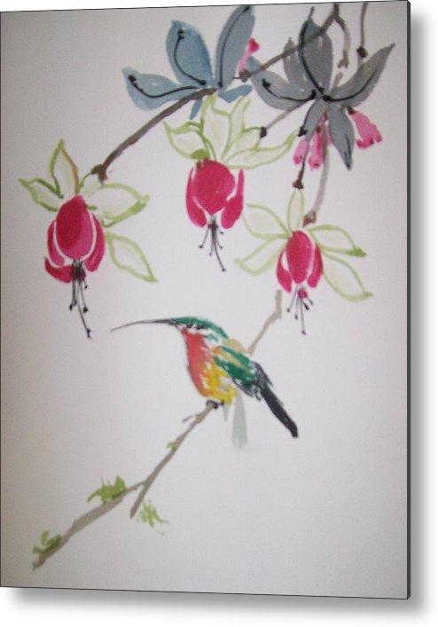 Birds Metal Print featuring the painting Hummingbird by Leo Gordon
