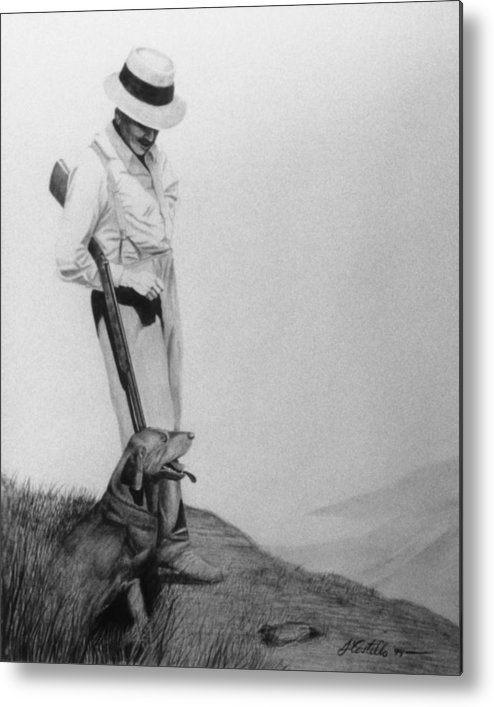 Man And Dog Metal Print featuring the drawing Hunters by Joe Costello
