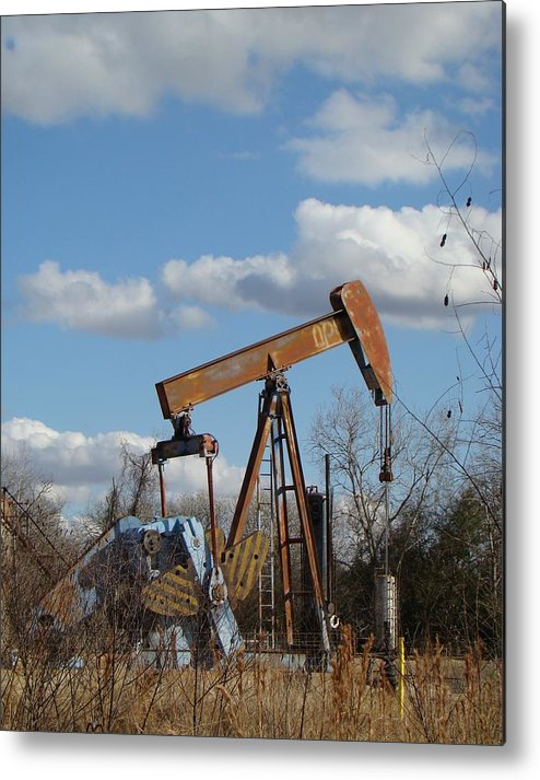 Landscape Metal Print featuring the photograph Hwy 71 Oil Well by Ana Villaronga
