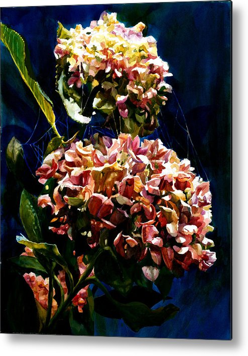 Floral Metal Print featuring the painting Hydrangeas by Carolyn Epperly