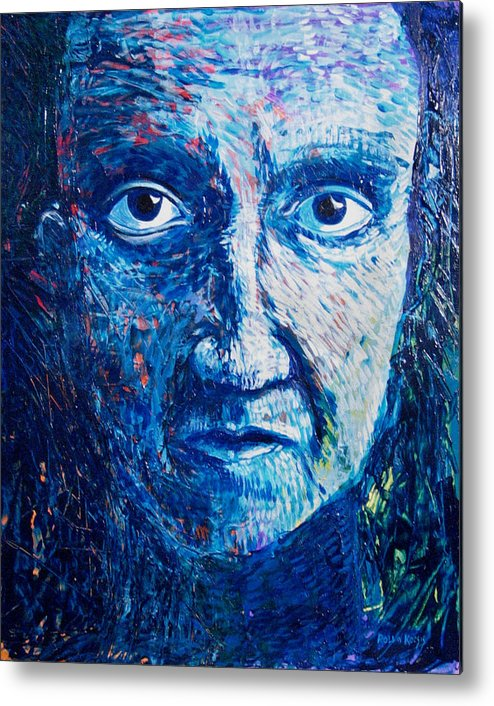 Blue Metal Print featuring the painting I See You In So Many Ways by Rollin Kocsis