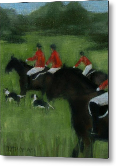 Horse Metal Print featuring the painting In Pursuit by Donna Thomas