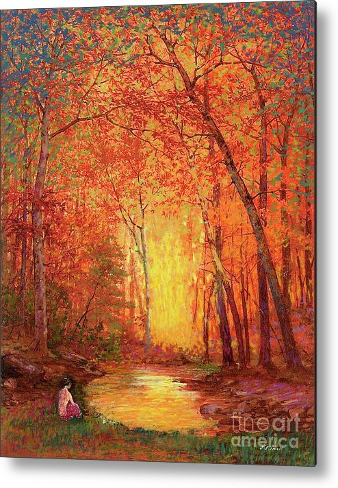 Meditation Metal Print featuring the painting In The Presence Of Light Meditation by Jane Small