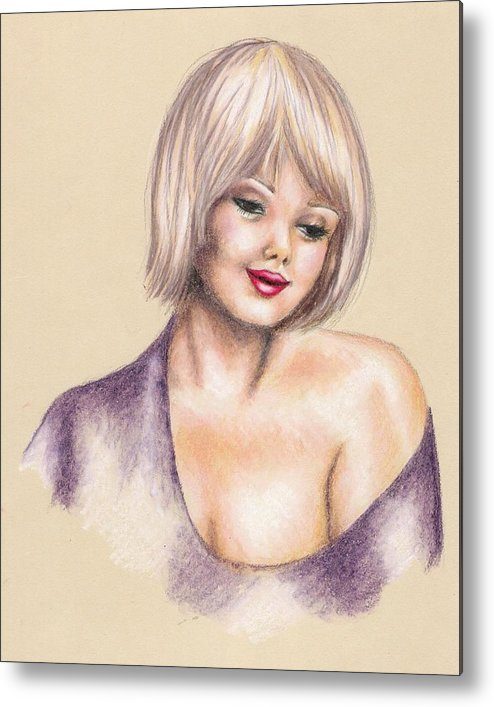Portrait Metal Print featuring the drawing Innocence by Scarlett Royal