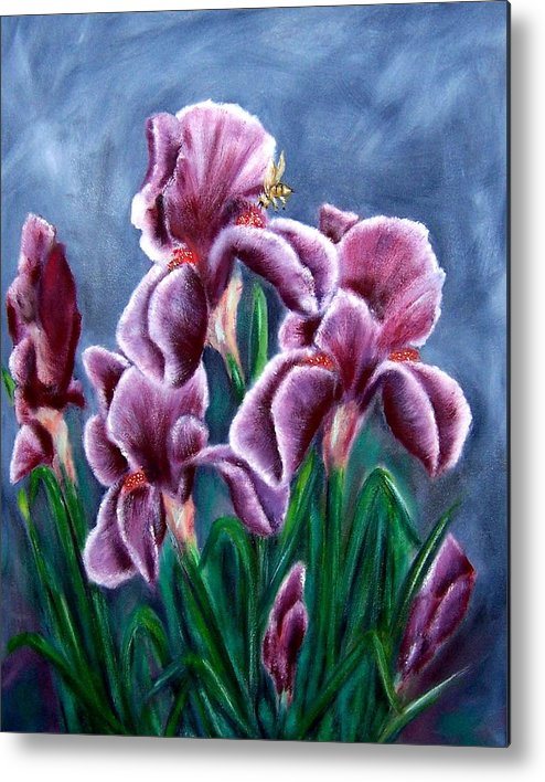 Floral Metal Print featuring the painting Iris Awakens by Penny Everhart