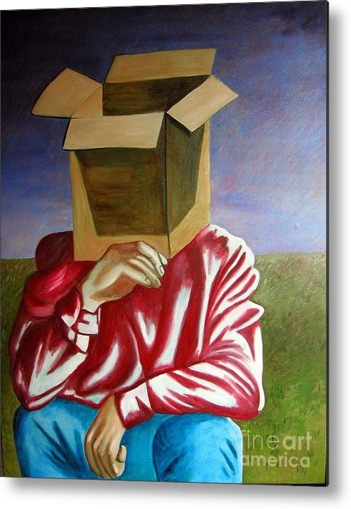 Identity (symbolic Art) Metal Print featuring the painting Is The Self Just An Empty Box by Tanni Koens