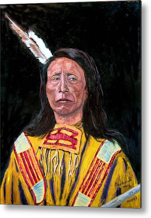 Indian Metal Print featuring the painting Jack Red Cloud by Stan Hamilton