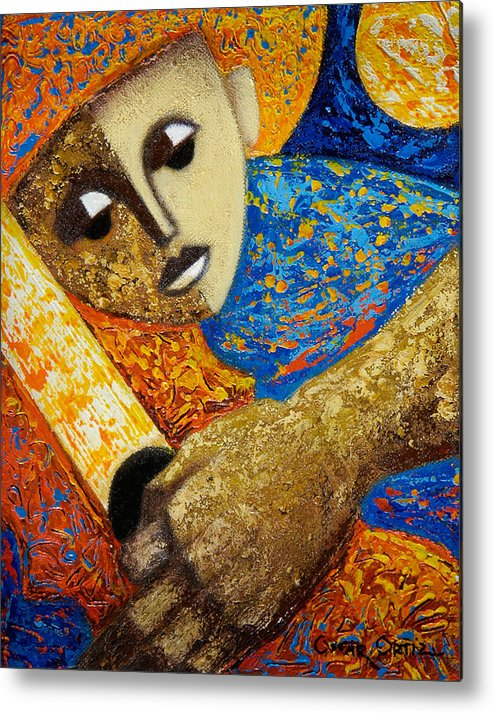 Color Metal Print featuring the painting Jibaro Y Sol by Oscar Ortiz