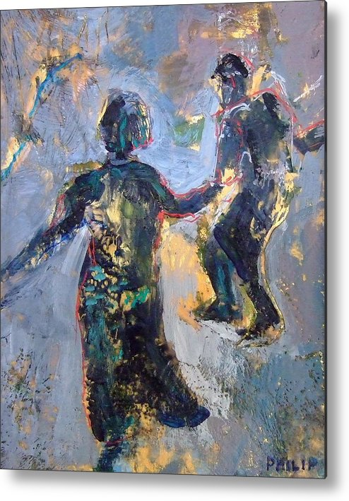 Encaustic Painting By Michelle Philip Metal Print featuring the painting Jitterbug by Michelle Philip