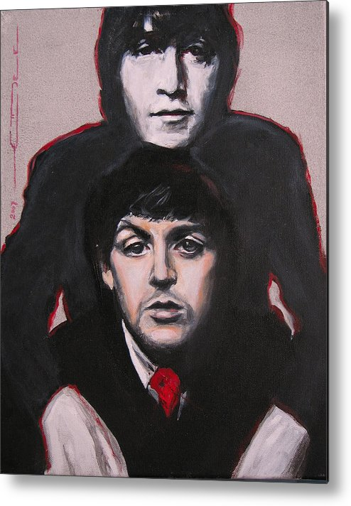 The Beatles Metal Print featuring the painting John's Ghost by Eric Dee