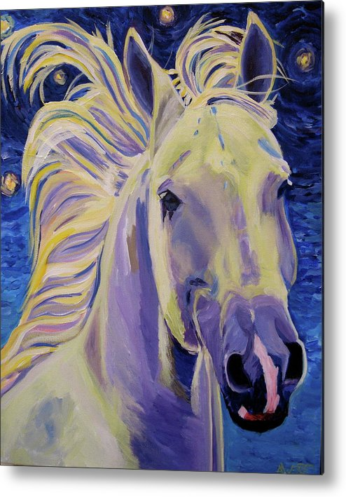Horse Art Metal Print featuring the painting Knights In White Satin by Anne West