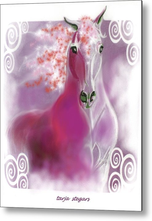 Horse Drawings Metal Print featuring the painting Lace II by Tarja Stegars