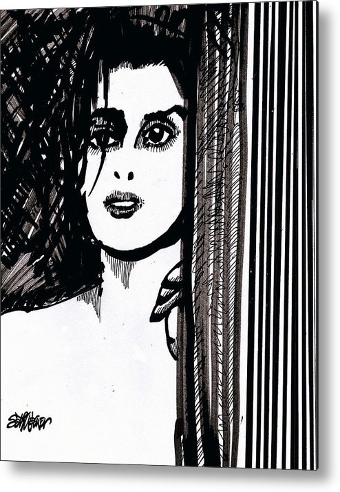 Sad Lady Metal Print featuring the drawing Lady At The Door by Seth Weaver