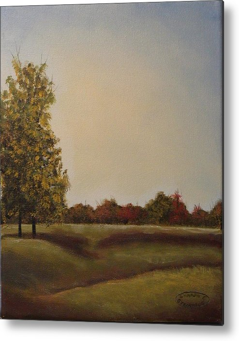 Original Acrylic Landscape Metal Print featuring the painting Lakeridge Meadow by Sharon Steinhaus