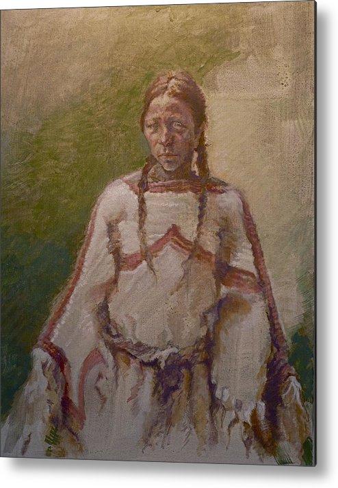 One Wnative American Metal Print featuring the painting Lakota Woman by Ellen Dreibelbis
