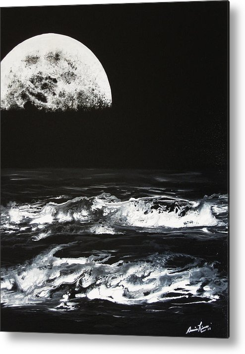 Contemporary Sea Metal Print featuring the painting Le Majestueux by Annie Rioux
